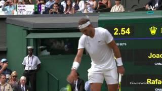 Gran saque directo con el que Nadal cerró su partido de octavos en Wimbledon